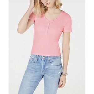 Planet Gold Blouse Button Accents Pink M New